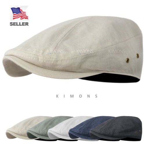 86a9b88a972 WF Canvas Plain Cotton Plaid Gatsby Tweed Ivy Cap Hat Golf Flat Cabbie  Newsboy