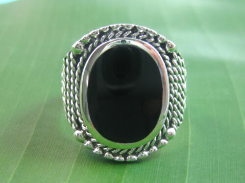 100% 925 sterling silver OVAL black ONYX oxidised TWIST MEN'S Ring size R T V X