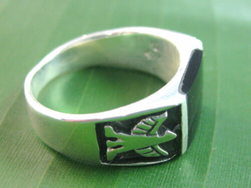 100% REAL 925 sterling silver RECTANGLE black ONYX bird SOLID Ring - BOY MEN