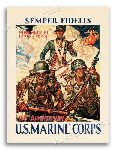 1943 Semper Fidelis - U.S. Marine Corps Vintage Style WW2 Poster - 18x24United States - 156437