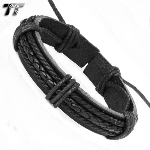 Stylish TTStyle Black Leather Wristband