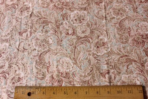 Antique American Floral Paisley Quilting Weight Cotton Fabric Yardage c1900-1910
