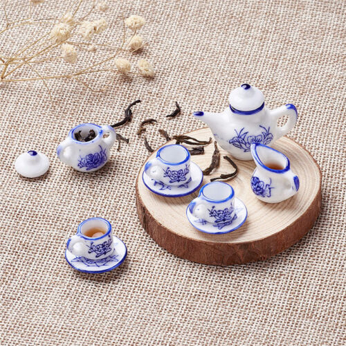 1 Set MINIATURE Vintage Porcelain Tea Set Blue Dolls House Tea Set Child's Toys