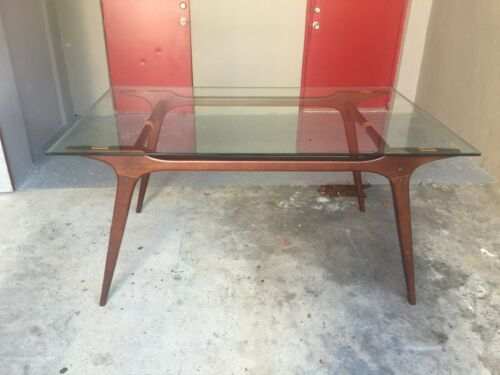 MID CENTURY MODERN BOOMERANG STYLE EXOTIC WOOD DINING TABLE WITH GLASS TOP - P