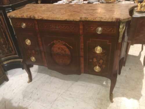 ANTIQUE 19th C Bronze Inlaid FRENCH Marble Top Louis XV COMMODE Dresser Chest
