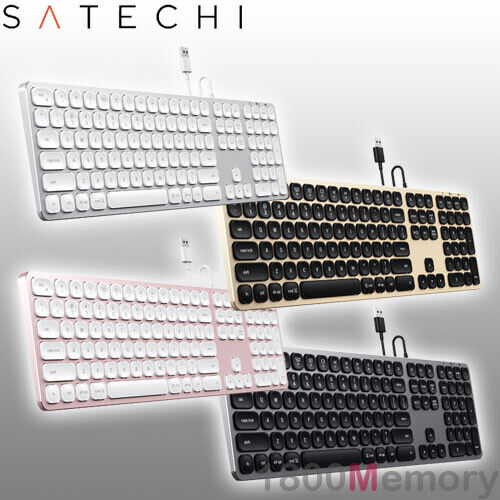 Satechi Aluminum Wired USB Keyboard with Numeric Keypad USB-A for Apple Mac