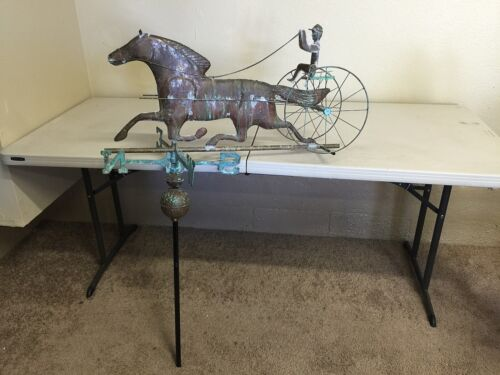 WEATHERVANE WITH SULKY AND HORSE VINTAGE ORIG. FOLK ART KENTUCKY COPPER PATINA
