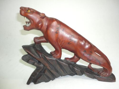 """Vintage Intricately carve wood tiger on base from china. 8.5 long """" x 7.1/8 H"""""""