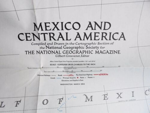 OLD SCHOOL WALL MAP- MEXICO AND CENTRAL AMERICA 1953 - NATIONAL GEOGRAPHIC