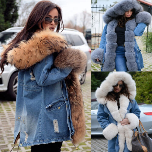 Ladies Fur Lining Coat Womens Winter Warm Thick Long Jacket Outdoor Hooded Parka <br/> UK Shipping .Sold 100000+ TOP 5 Feedback Fashion Coat