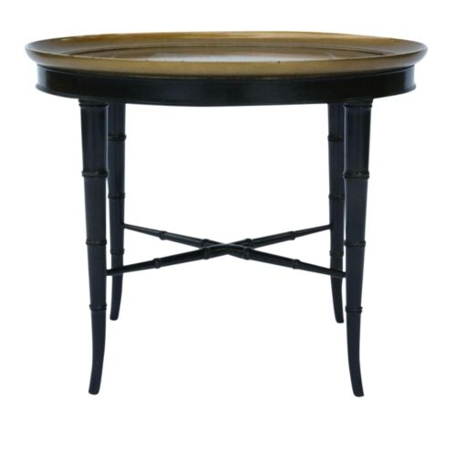 VTG Kittinger Faux Bamboo Occasional Table, Gilt Top, Ebonized Base, Coffee