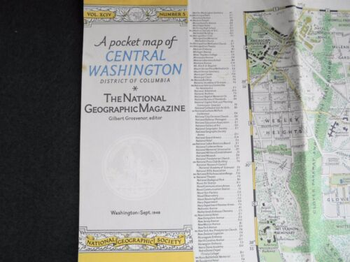OLD SCHOOL WALL MAP CENTRAL WASHINGTON DISTRICT OF COLUMBIA 1948 POCKET MAP NAT