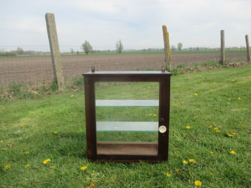 Small Vintage Showcase Glass Wood Wall Hanging Cabinet