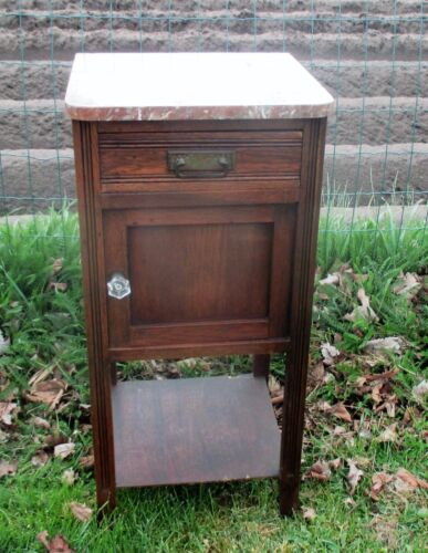 Art Deco  Nightstand End Table oak Brown Marble Top French Glass Knob