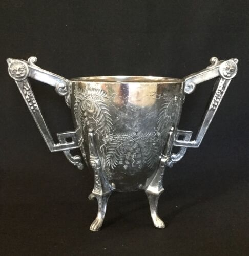 Very unusual antique art nouveau clawed foot sugar bowl by Rogers Smith & Co.