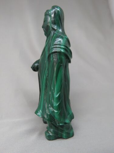 Natural Malachite Wen Tianxiang (文天祥) Carving, Hero of the Song Dynasty