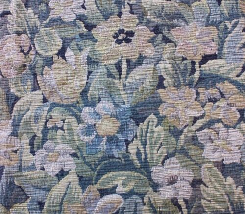 Beautiful French Floral Antique c1900 Heavy Jacquard Tapestry Fabric Textile