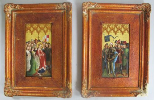 Superb Pair of FRENCH AESTHETIC Enamel on Porcelain Paintings  c. 1880s  antique