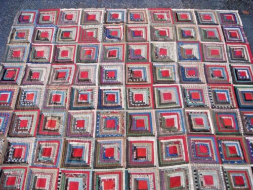 BEAUTIFUL ANTIQUE NATIVE ETHNIC HANDMADE PATTERNED QUILT 19TH CENTURY