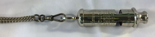 Acme England 1930-1950 Nickel Plated Brass Metropolitan Police Whistle w/Chain