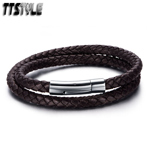 TTstyle Deep Brown Double-Row Leather 316L S.Steel Clip Bracelet NEW
