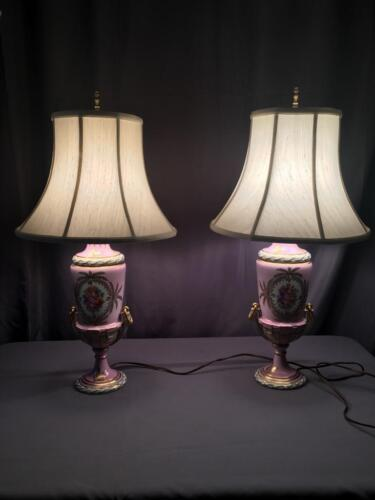 AntQ Dresden Carl Thieme Hand Painted Large Desirable Pink & Floral Lamps