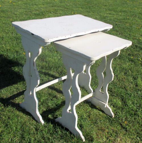 2 Antique French White Wood Nesting Side Tables French Provincial Stunning WOW