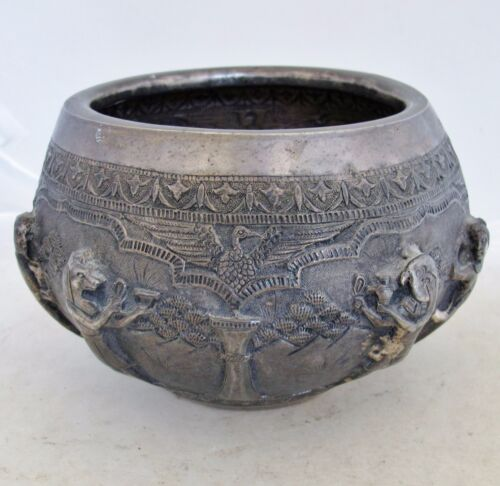 """Antique .850 Silver EGYPTIAN Themed Vase with Repousse Gods  (547 grams, 7.15"""")"""