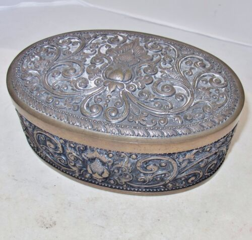 "Antique Indonesian Yogya .800 Silver Oval Box / Tea Caddy  (509 grams, 7.2"")"
