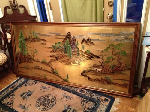 """72""""x36""""Asian Landscape Painting, Raised Lacquer, ships $79 greyhound. make Offer"""