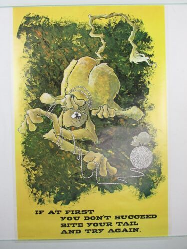 Vintage IF AT FIRST YOU DON'T SUCCEED Cat Mouse Poster Motivational NOS