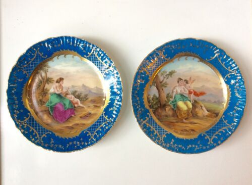 Pair 19th C. Royal Vienna Style Hand Painted Cabinet Plates