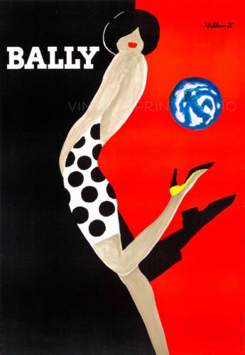 Chaussures Bally Vintage Fashion Shoes Advertising Giclee Canvas Print 20x29