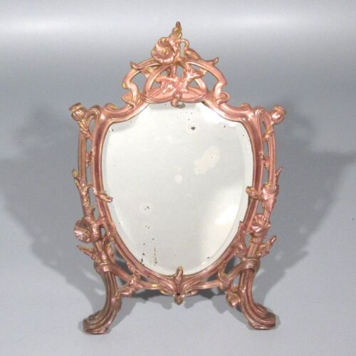 Antique French PeriodArt Nouveau Beveled Mirror, Thistle Morning Glory Pattern