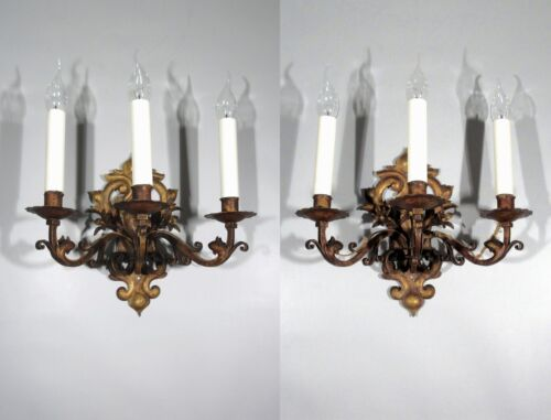 Pair of Vintage FrenchTole Sconces,AntiqueGold Patina, Flowers