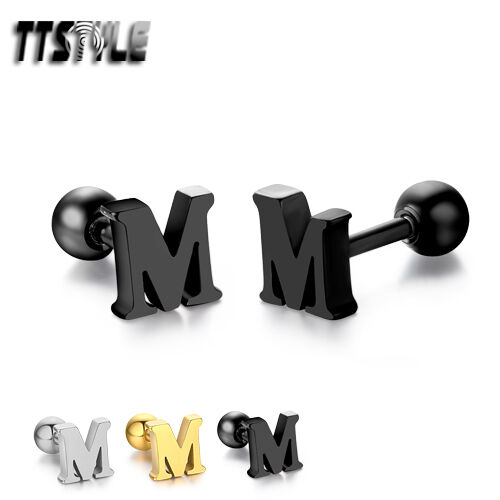 TTstyle Surgical Steel Letter M Fake Ear Cartilage Tragus Earrings 3 Colours NEW