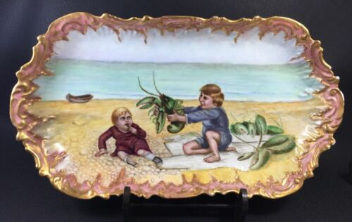 Amazing Coiffe Limoges Lobster Platter Hand Painted Children Beach Cabinet Plate