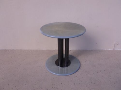 POST MODERN 80'S ROCHE BOBOIS GOATSKIN / PARCHMENT THREE COLUMN OCCASIONAL TABLE