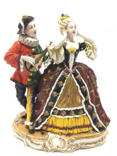 "Antique 12"" French Porcelain Figurine Pierrot Singing to Victorian Lady."