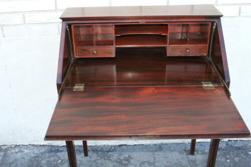 Great English Sheraton Style Inlaid Mahogany Secretary Writing Desk With Drawer