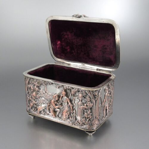 """Antique FrenchSilverplated & Coppered Jewelry Box,""""Courting Scenes"""", 19th c."""