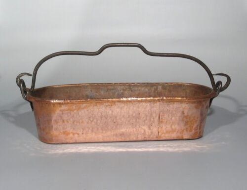 Antique French Copper Fish Poacher Kettle Cauldron Handmade Rolled Edge Hammered