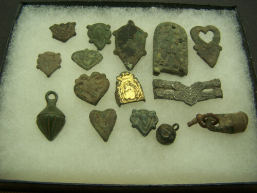 Roman  bronze artifacts  decorations  lot of 15 with 5 1/2 x 4 1/2 display box