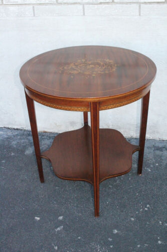 Gorgeous Antique English Regency Marquetry Inlaid Mahogany Round Side End Table