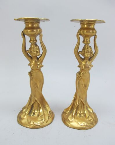 Fine Pair of Antique FRENCH ART NOUVEAU Heavily Gilded Candle Holders  c. 1910