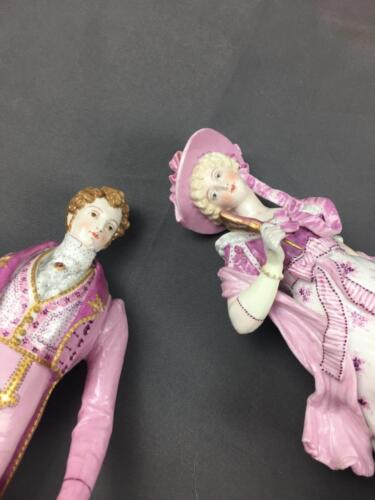 AntQ French Charles Levy Figural Courting Couples Figurines In Rare Purple Pinks
