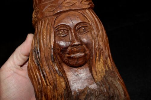 "Old 11.5"" African Hand Carved Wooden Beautiful Woman Statue Wood Art"