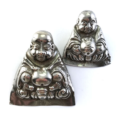 Lot: 2 Antique Chinese Silver Happy Buddha Figural Child's Hat Ornaments C.1900