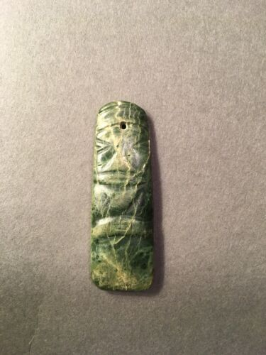 Precolumbian Mixtec Penate Bead Pendant Greenstone Jade Ancient Mezcala