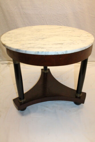 Great Quality French Empire Mahogany Round Marble Top Center Table